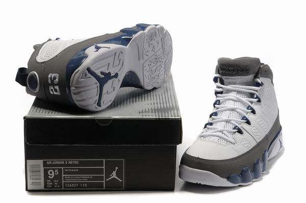 Cheap Air Jordan 9 Shoes White/Silver
