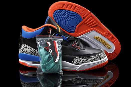 Air Jordan 3 Shoes Black/Blue/Orange