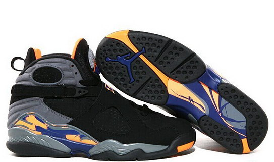 Air Jordan 8 Shoes Black/Dark gray/Orange