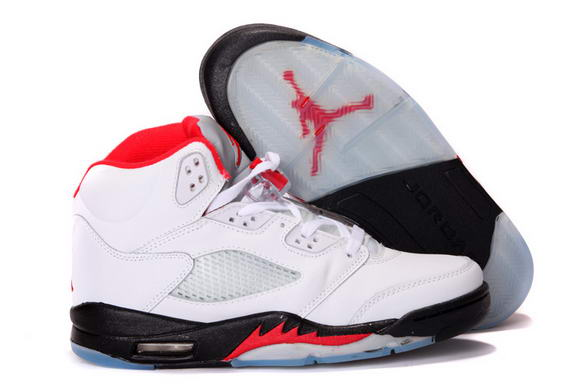 Air Jordan 5 Retro Shoes White/Fire Red Black
