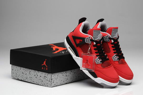 Air Jordan 4 V TORO BRAVO Shoes Fire Red/White Black Cement Grey