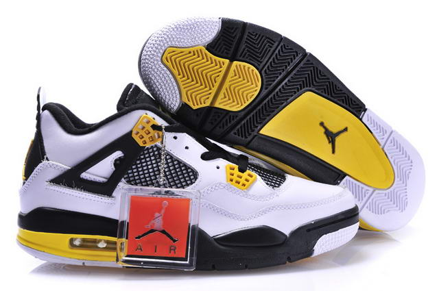 Air Jordan 4 New Shoes Yellow/Black/White