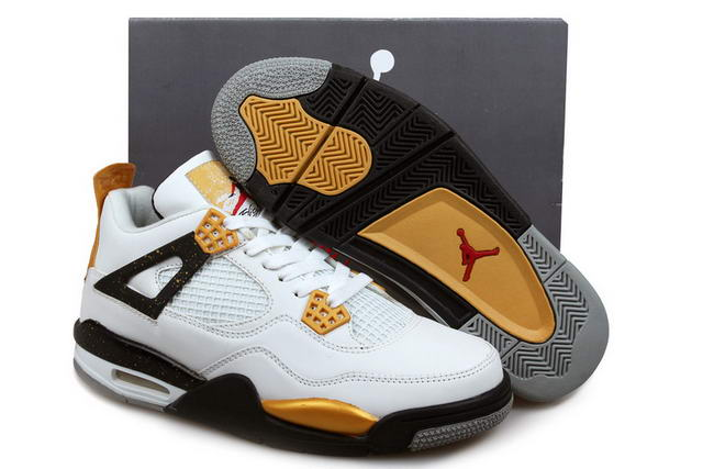 Air Jordan 4 Shoes White/Black/Yellow