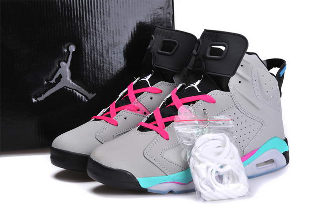 Air Jordan 6 Retro Shoes cool gray/Bright blue pink
