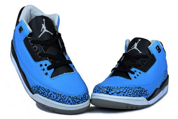 Air Jordan 3 (III) Powder Blue Release Shoes blue/black/white