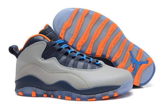 Air Jordan 10 Bobcats Shoes Wolf Grey/Dark Powder Blue New Slate Atomic Orange