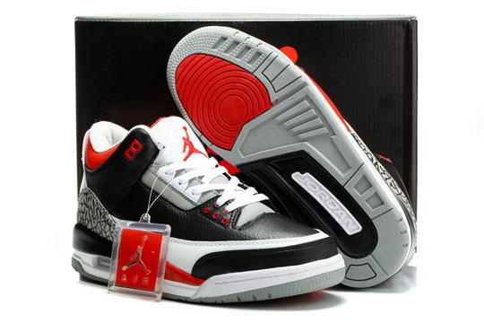 Air Jordan 3 Retro Shoes Black/Cement Grey White Varsity Red