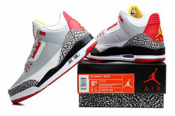 Air Jordan 3 Retro Shoes white/gray cement red yellow