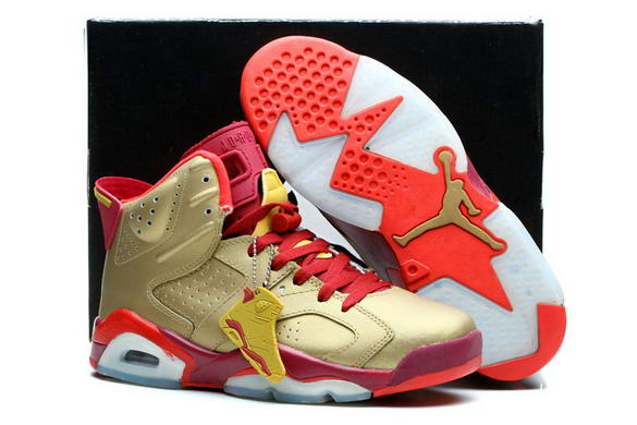 Air Jordan 6 Retro Shoes Gold/red