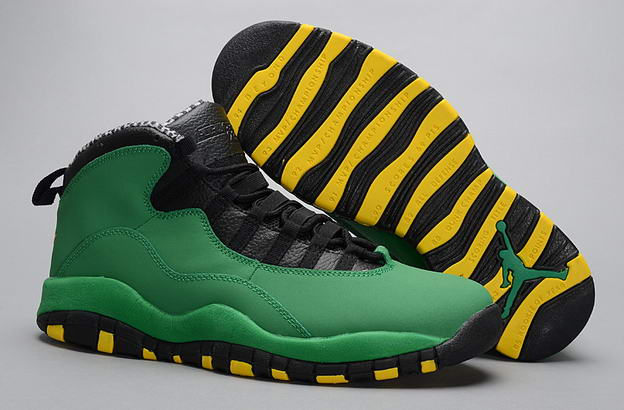 Air Jordan 10 Retro Shoes Green/black yellow