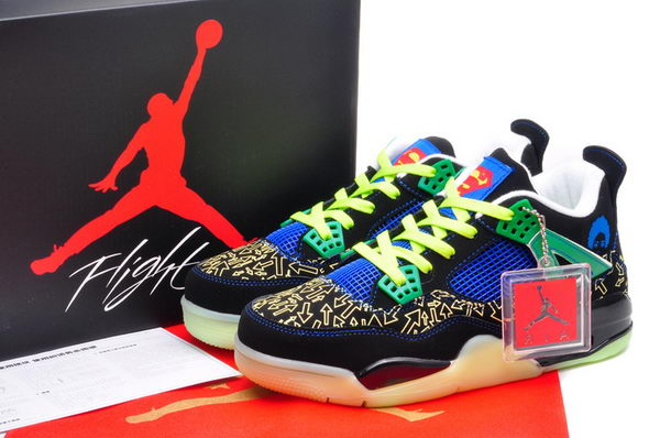 Air Jordan 4 Superman Shoes Black/blue green