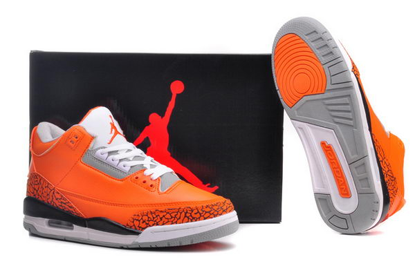 Air Jordan 3 Retro Shoes orange/black white