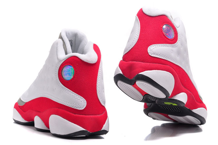 Air Jordan 13 Retro Shoes White/Grey Toe fire red