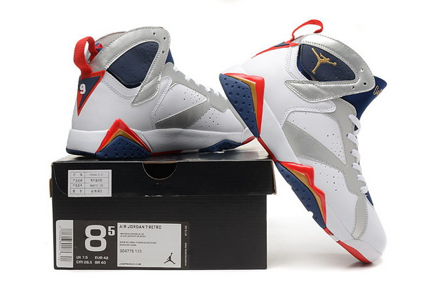 Air Jordan 7 Retro Shoes white/blue red silver