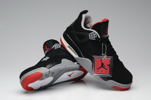 Air Jordan 4 Retro Shoes black/gray red