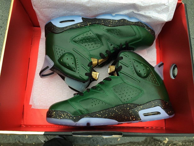 Air Jordan 6(Champagne) Shoes Pure green/metallic gold challenge red