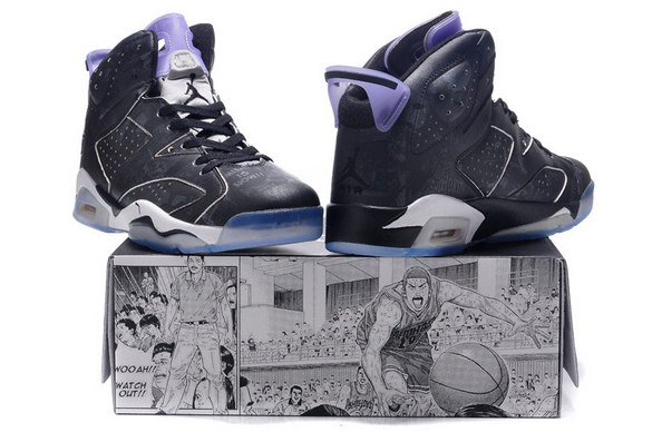 Air Jordan 6 Slam Dunk Shoes Black/blue white
