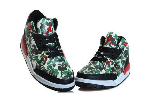 Air Jordan 3 Hero fighter Shoes Green/black red - Click Image to Close