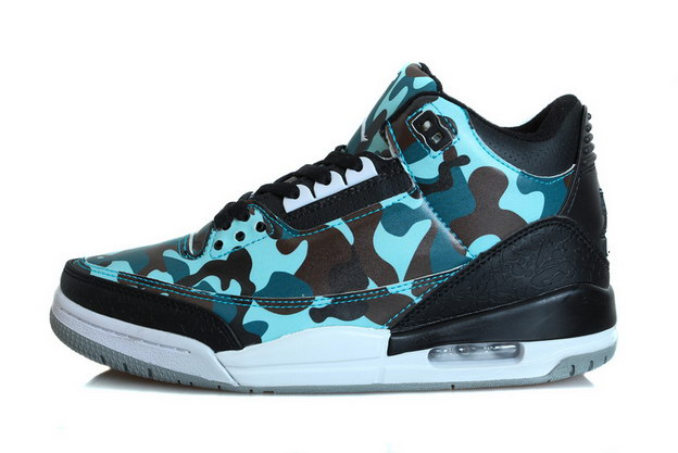 Air Jordan 3 Hero fighter Shoes Army Blue/black white - Click Image to Close