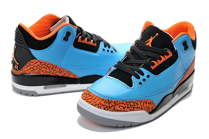 Air Jordan 3 Retro Shoes Blue/orange black