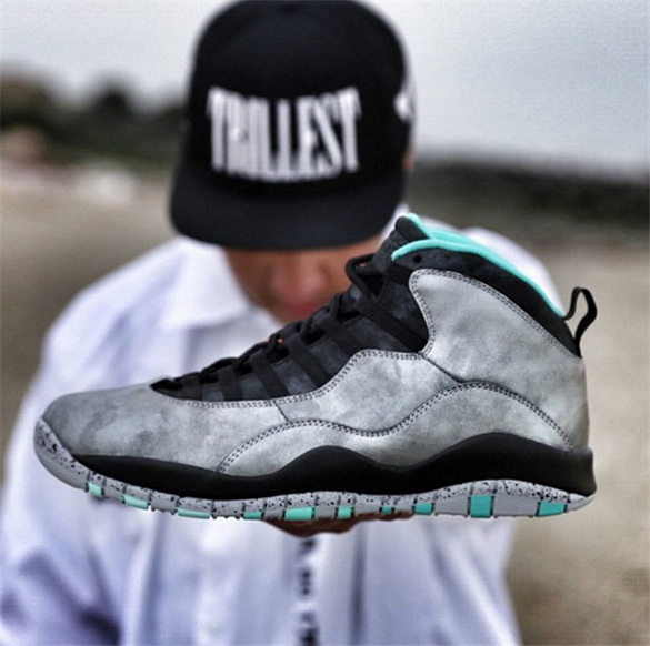 Air Jordan 10 Retro Shoes Silver/black green