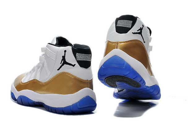 Air Jordan 11 Retro Shoes White/gold blue