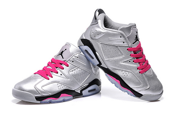 Air Jordan 6 Low Shoes Silver/pink black