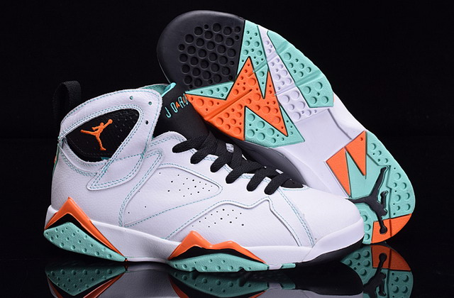 Air Jordan 7 Retro Shoes White/Green Black Orange