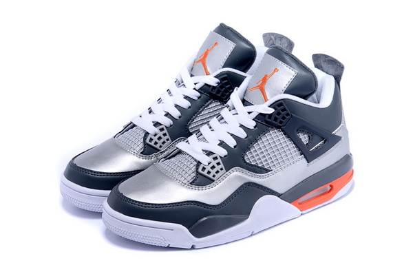 Air Jordan 4 Retro Shoes Silver/blue orange