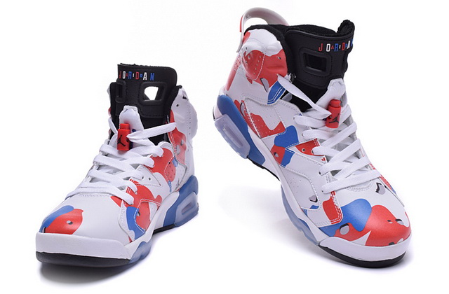 Air Jordan 6 Camouflage Shoes White/Blue red