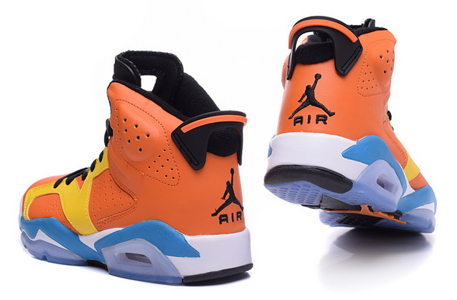 Air Jordan 6 Camouflage Shoes Orange/blue white