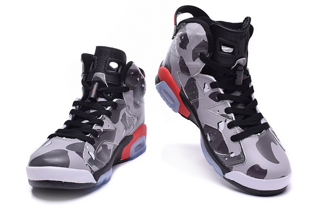 Air Jordan 6 Camouflage Shoes Grey/black red