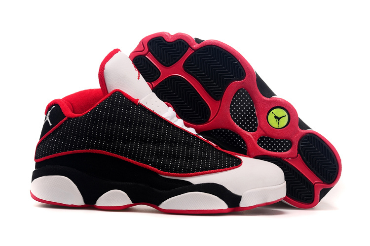 Air Jordan 13(XIII) Low Shoes Black/white red
