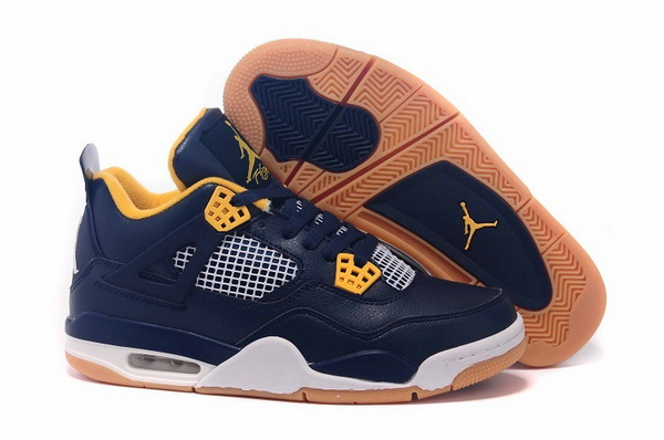 Air Jordan 4 Retro Shoes Dark blue/yellow