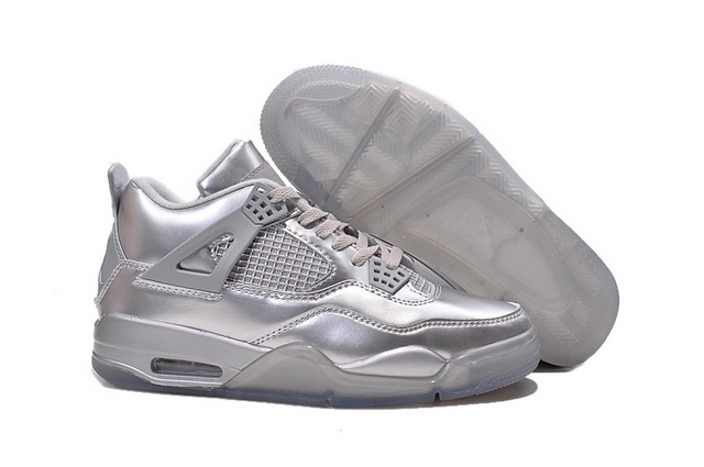 Air Jordan 4 Retro Shoes silver