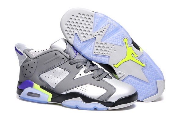 Air Jordan 6 Low Shoes Gray/silver blue green