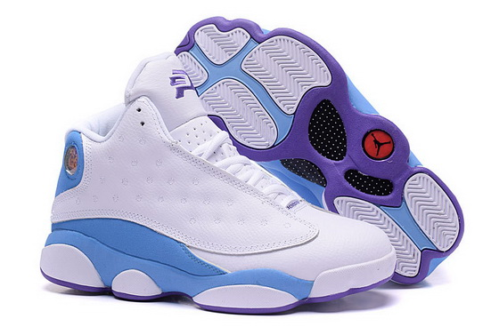 Air Jordan 13 Retro Shoes White/blue purple