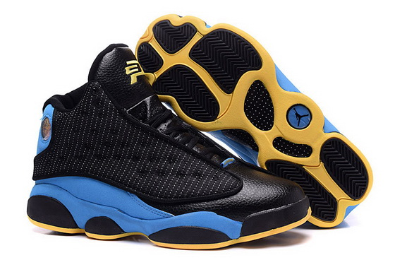 Air Jordan 13 Retro Shoes Black/blue yellow