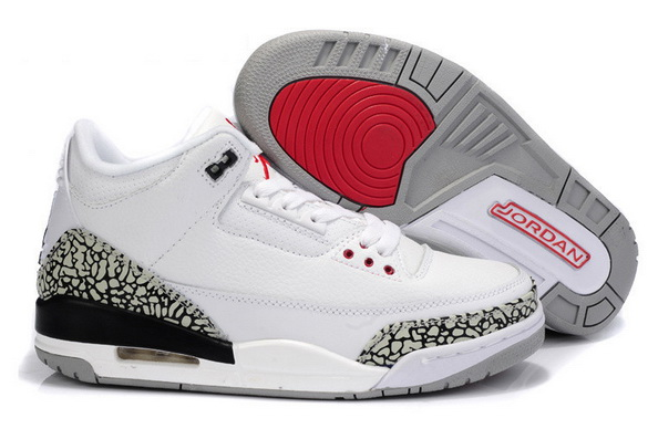 "Air Jordan 3 Big Size ""14 15 16"" Shoes White/Cement Grey black red"