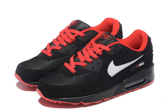Men's Air Max 90 Shoes Black/red white