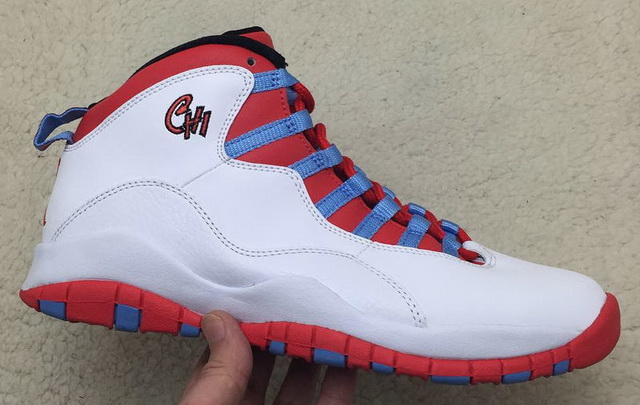 "Air Jordan 10 ""Chicago Flag"" Shoes White/red blue"