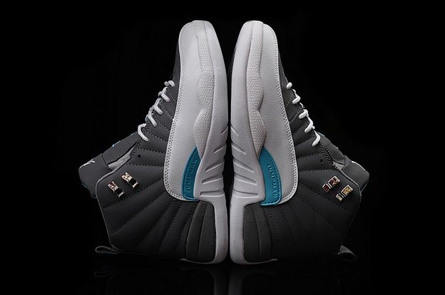 Air Jordan 12 Retro Shoes Gray/white blue