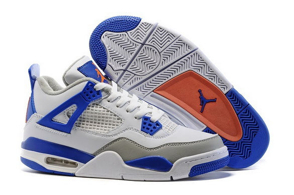 Air Jordan 4 Retro Shoes White/Blue Orange