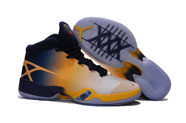Air Jordan 30 XXX Shoes Yellow/Black Grey Blue