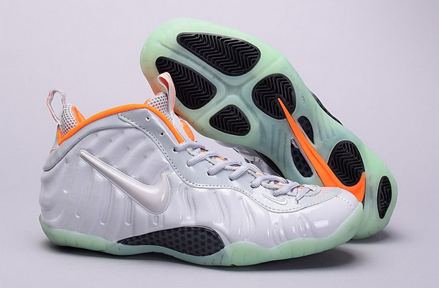 Air Foamposite Pro Pure Platinum Shoes Silver Grey/orange