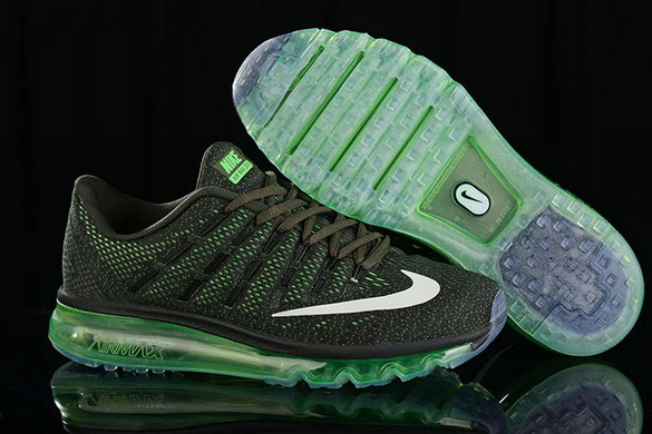 Men's Air Max 2016 Shoes Black/Green White