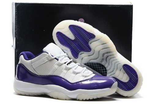 Air Jordan 11 Low Shoes White Purple - Click Image to Close