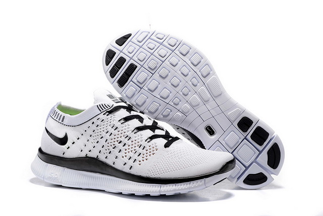 Men's Free Flyknit NSW 5 Shoes White/Black - Click Image to Close