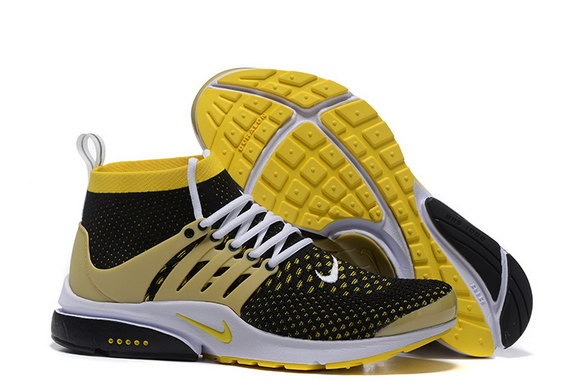Air Presto Ultra Flyknit Shoes Yellow/black white - Click Image to Close
