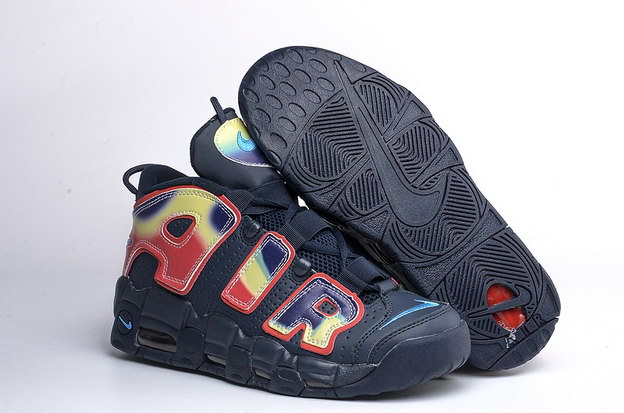 Air More Uptempo Shoes Fire red/dark blue black - Click Image to Close